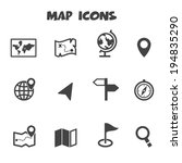 map icons  mono vector symbols | Shutterstock .eps vector #194835290
