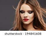 hair. woman face portrait. red... | Shutterstock . vector #194841608