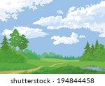 landscape  summer green forest... | Shutterstock .eps vector #194844458