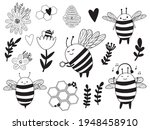 bees clipart in black and white ... | Shutterstock .eps vector #1948458910