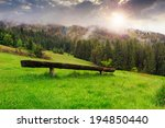 wooden bench out of wood on the meadow in front of coniferous forest on the hillside in the fog - stock photo