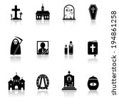 funeral icons with reflection | Shutterstock .eps vector #194861258