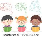 illustration of kids reading... | Shutterstock .eps vector #1948613470