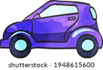 green car icon in color drawing....