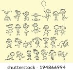 cute happy cartoon doodle kids | Shutterstock .eps vector #194866994