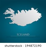 vector iceland map card paper... | Shutterstock .eps vector #194872190