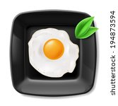 Fried eggs served on black square plate. Casual breakfast - stock vector