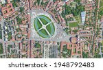 City of Padova Padua, Prato della Valle square looking down aerial view from above, bird's eye view Padova, İtaly