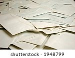 big pile of scattered envelopes - stock photo