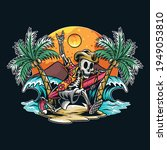 a skull running with a... | Shutterstock .eps vector #1949053810