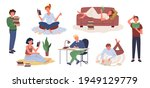 cartoon young woman holding... | Shutterstock .eps vector #1949129779