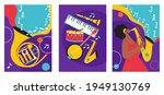 set of jazz festival posters.... | Shutterstock .eps vector #1949130769