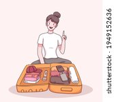 young woman packing a suitcase...   Shutterstock .eps vector #1949152636