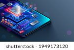 cpu of phone. microchip  smd... | Shutterstock .eps vector #1949173120