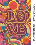 love poster hippie art style ...   Shutterstock .eps vector #1949191393