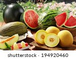 assorted melons and watermelons ... | Shutterstock . vector #194920460
