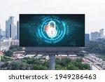 padlock icon hologram on road...