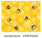 Bees And Bee's Honeycomb....