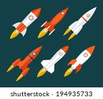 rocket icons start up and... | Shutterstock .eps vector #194935733