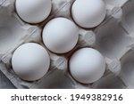 Fresh White Eggs In Eggshells...