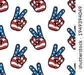 peace sign. gesture v victory... | Shutterstock .eps vector #1949394049