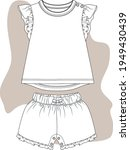 baby girl tshirt and shorts... | Shutterstock .eps vector #1949430439