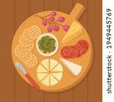 cheese set. gourmet composition ... | Shutterstock .eps vector #1949445769
