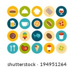 flat icons set 6   food and... | Shutterstock .eps vector #194951264