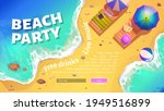 Beach Party Banner With Summer...