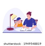 a woman tutor with a boy...   Shutterstock .eps vector #1949548819