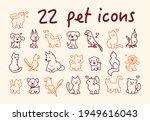 collection of cute line art pet ... | Shutterstock .eps vector #1949616043