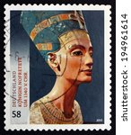 Small photo of GERMANY - CIRCA 2013: a stamp printed in the Germany shows Bust of Queen Nefertiti, Great Royal Wife of the Egyptian Pharaoh Akhenaten, Treasures of German Museums, circa 2013