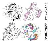 cute summer unicorns one line...   Shutterstock .eps vector #1949647570