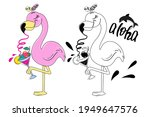 a cute summer painted flamingo...   Shutterstock .eps vector #1949647576