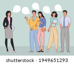 people talking or speaking and... | Shutterstock .eps vector #1949651293