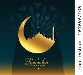 ramadan kareem golden moon and... | Shutterstock .eps vector #1949697106