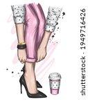 women's legs in stylish jeans... | Shutterstock .eps vector #1949716426