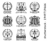 justice icons  lawyer or notary ...   Shutterstock .eps vector #1949719666