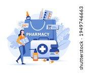customer buys pills at online... | Shutterstock .eps vector #1949746663