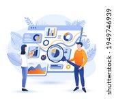 managers analyze data scene.... | Shutterstock .eps vector #1949746939