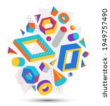 colorful 3d shapes vector... | Shutterstock .eps vector #1949757490
