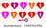 Heart Shaped Padlocks Vector...