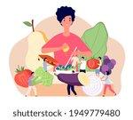 vegan food concept. flat... | Shutterstock .eps vector #1949779480