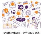 back to school doodle set | Shutterstock . vector #1949827156
