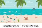 dirty and clean beach set....   Shutterstock .eps vector #1949829556