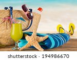 close up of summer accessories... | Shutterstock . vector #194986670
