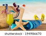 close up of summer accessories... | Shutterstock . vector #194986670