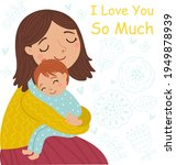 mother and son. embrace. cute... | Shutterstock .eps vector #1949878939