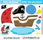 cute bird wearing pirate hat on ... | Shutterstock .eps vector #1949880913
