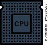 cpu icon. editable bold outline ...